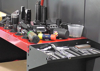 Tool table with tools lined up