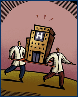 Cartoon carrying a hospital