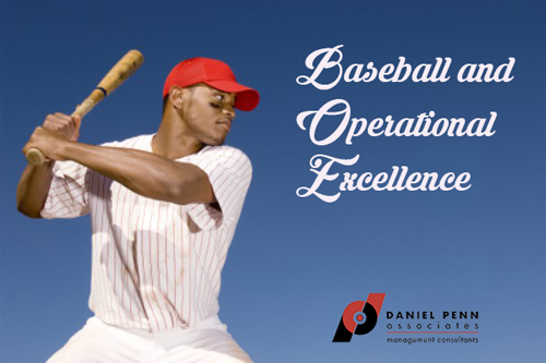 Batter swinging at baseball and operational excellence words